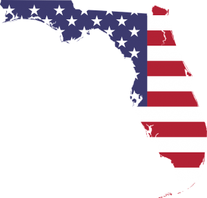 Florida Map and U.S flag