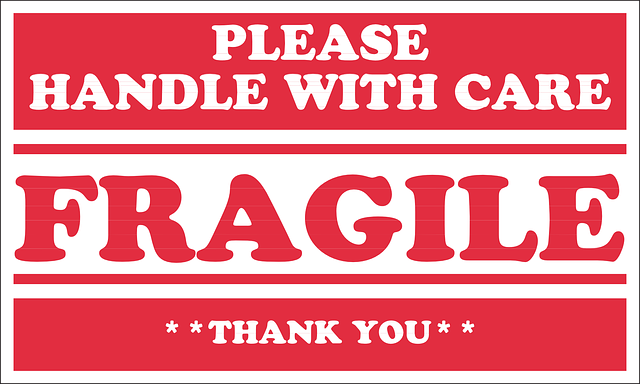 Take care when you pack fragile items.