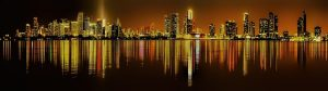 View of Miami at night. It is a good locations for athletes in Florida.