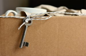 a key on a cardboard box