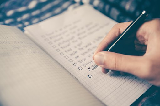Writing a checklist of things you have to do first day after moving