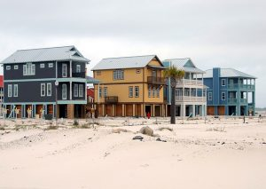 A couple of Florida beach houses in the winter.