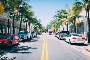 Miami street with cars and palm trees