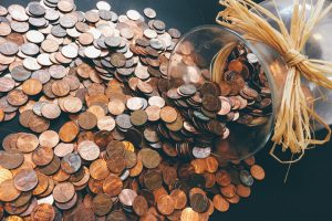 Many coins from a jar