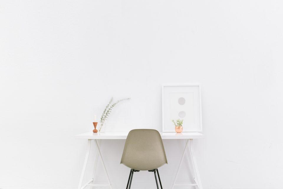 Working desk in minimalist style