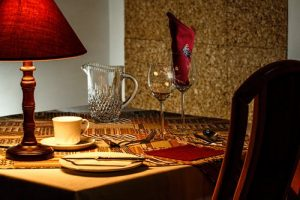 Glasses and cutlery on a table
