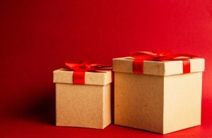 Two gift boxes, resembling moving boxes
