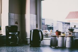 Kitchen appliances on a kitchen counter
