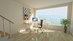 A home office next to a huge window
