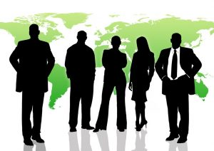 Silhouettes of businessmen and businesswoman
