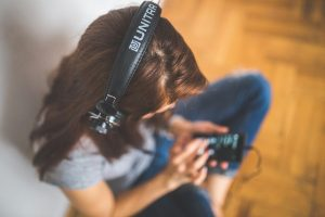 A girl listening to music