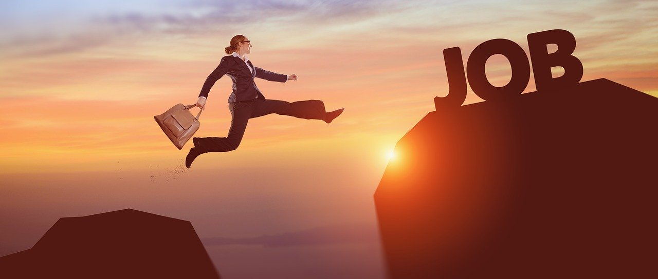 a person leaping to a job title, representing job relocation
