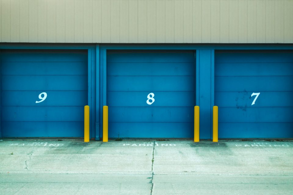 Sharing a storage unit with a friend with blue doors