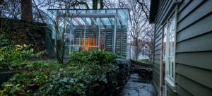 glass conservatory in a garden