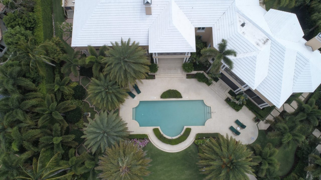 home with a pool bird's eye view